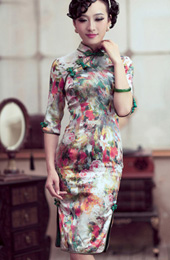 3/4 Sleeves Mid Floral Silk Qipao / Cheongsam / Chinese Dress for Winter