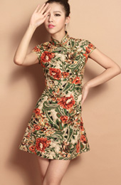 Custom Tailored Short Floral Qipao / Cheongsam Dress