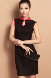 Black Custom Tailored Short Qipao / Cheongsam Dress