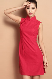 Red Custom Tailored Short Qipao / Cheongsam Dress