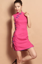 Pink Sleeveless Custom Tailored Short Qipao / Cheongsam Dress