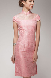 Pink Short Silk Qipao / Cheongsam Dress