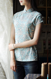 Blue Floral Short Sleeve Qipao / Cheongsam Shirt
