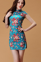 Blue Short Floral Stretchy Linen Qipao / Cheongsam Dress