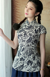 Qipao / Cheongsam Shirt with Blue-and-White Print