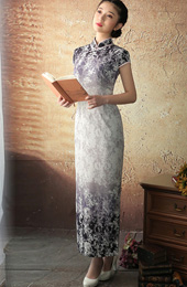 Fading Gray Floral Ankle-length Qipao / Cheongsam Dress