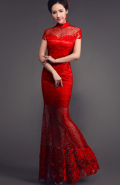 Red Fishtail Cheongsam / Qipao Wedding Dress with Sheer Lace Panels