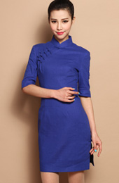 Blue Custom Tailored Linen Qipao / Cheongsam Dress