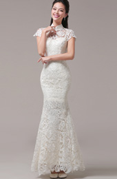 White Fishtail Qipao / Cheongsam Wedding Dress