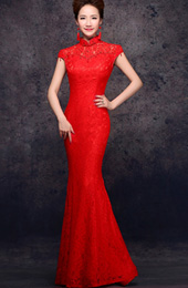 Red Fishtail Qipao / Cheongsam Dress with Beads