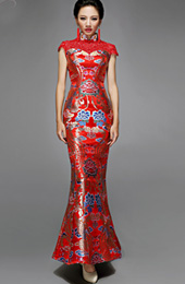 Red Fishtail Cheongsam / Qipao Dress with Phoenix Pattern