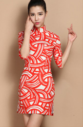 Red Contrast Custom Tailored Linen Qipao / Cheongsam Dress
