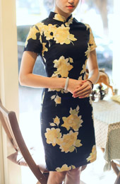 Black Short Linen Qipao / Cheongsam Dress in Contrast Floral Print