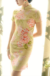 Yellow Short Floral Linen Qipao / Cheongsam Dress