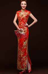 Ankle-length Sequins Floral Cheongsam / Qipao Evening Dress