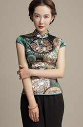 Green Mulberry Silk Mandarin Collar Qipao / Cheongsam Shirt with Retro Print