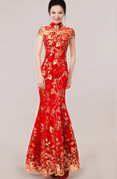 Red Ankle-length Sequined Fishtail Cheongsam / Qipao Wedding Dress