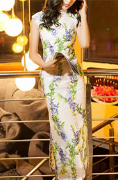 Floral Ankle-Length Cheongsam / Qipao Dress