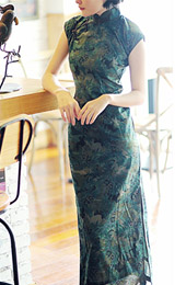 Green Ankle-Length Floral Linen Qipao / Cheongsam Dress