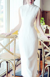 White Tea-Length Linen Qipao / Cheongsam Dress