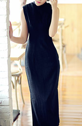 Black Tea-Length Linen Qipao / Cheongsam Dress