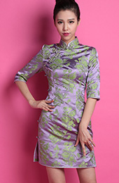 Purple Floral Custom Tailored Silk Qipao / Cheongsam Dress