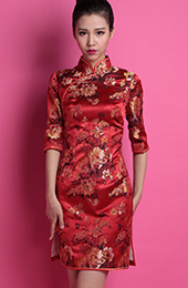 Red Floral Custom Tailored Silk Qipao / Cheongsam Wedding Dress