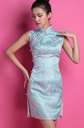 Blue Floral Custom Tailored Silk Qipao / Cheongsam Dress
