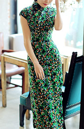Green Floral Chiffon Qipao / Cheongsam Party Dress