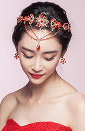 CLY Cazzo Red Vintage Bridal Crystal Headband