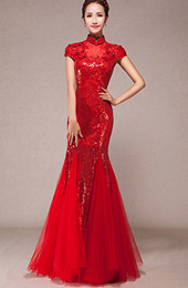Sequined Fishtail Cheongsam / Qipao Wedding Dress with Tulle Hem