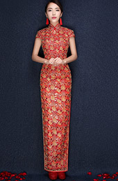 Red Gorgeous Floral Ankle-Length Traditional Qipao / Cheongsam Wedding Dress