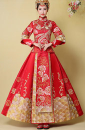 Phoenix Emboridery 2-Piece Chinese Wedding Qun Kwa