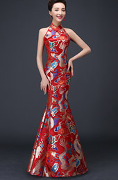 Fishtail Dragon Qipao / Cheongsam Wedding Dress with Cutout Back