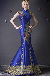 Custom Tailored Floral Embroidery Qipao / Cheongsam Dress with Train