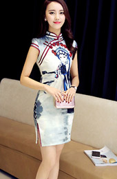 Modern Qipao / Cheongsam Dress in Beijing Opera Pattern