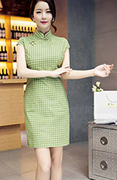 Green Grid Plaid Qipao / Cheongsam Dress