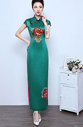 Split Ankle-Length Embroidered Lotus Qipao / Cheongsam Wedding Dress
