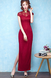 Wine Red Lace Qipao / Cheongsam Dress with Split