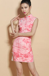 Custom Tailored Pink Floral Qipao / Cheongsam Dress