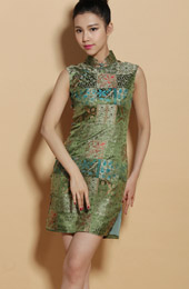 Custom Tailored Green Silk Floral Qipao / Cheongsam Dress