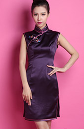 Custom Tailored Purple Silk Qipao / Cheongsam Party Dress
