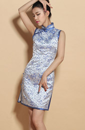 Custom Tailored Dragon Print Qipao / Cheongsam Party Dress