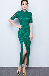 Green Lace Qipao / Cheongsam Prom Dress with Split Front