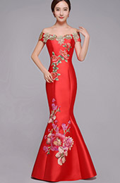 Red Embroidered Off Shoulder Fishtail Qipao / Cheongsam Wedding Dress