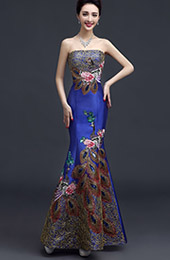Embroidered Bandeau Fishtail Qipao / Cheongsam Wedding Gown