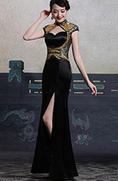 Custom Tailored Black Sequins Qipao / Cheongsam Dress with Keyhole