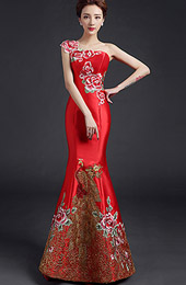 Custom Tailored One Shoulder Fishtail Qipao / Cheongsam Dress with Floral & Phoenix Embroidery