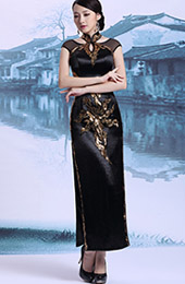 Custom Tailored Black Halter Qipao / Cheongsam Dress with Keyhole