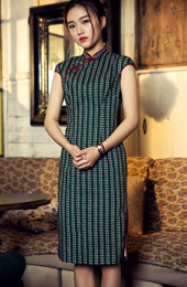 Green Mid Qipao / Cheongsam Dress in Stripe